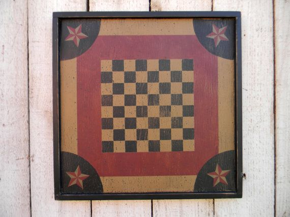 Primitive distressed wood 16 checkerboard game by SallyJensigns, $32.00