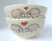 Wedding Gift- Engagement Gift- Pair of Made to Order Ceramic Teacups-  Animals in Love by Abby Berkson