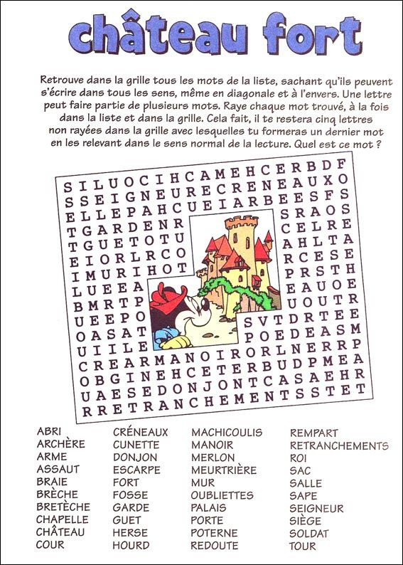 Jeu du mot myst re imprimer moyen ge mots crois s mots crois s imprimer et histoire cm1 - Image du moyen age a imprimer ...