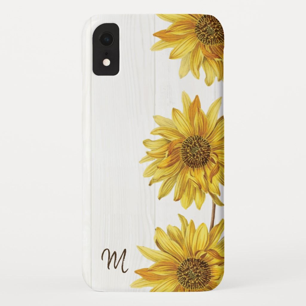 Rustic Country White Wood with Sunflowers Monogram Iphone