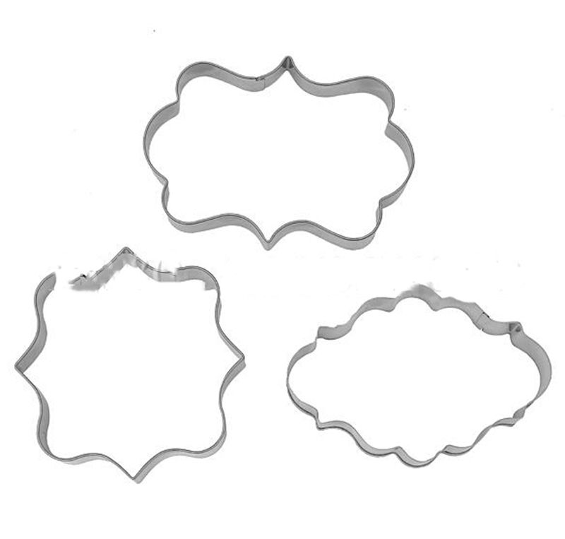 Oval// Square Fancy Plaque Frame Stainless Steel Cookie Cutter Fondant Cake Set