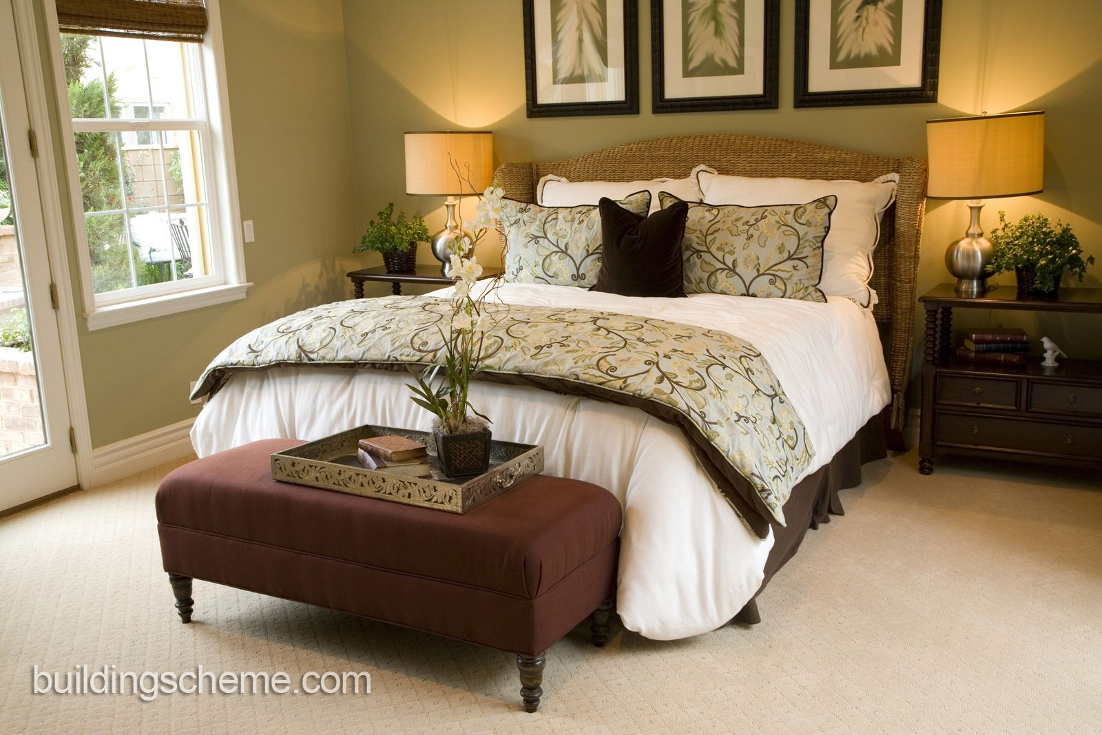 Classy Bedroom Idea With Wicker Bed And Leaves Pattern Decoration Exclusive Ideas For Couple