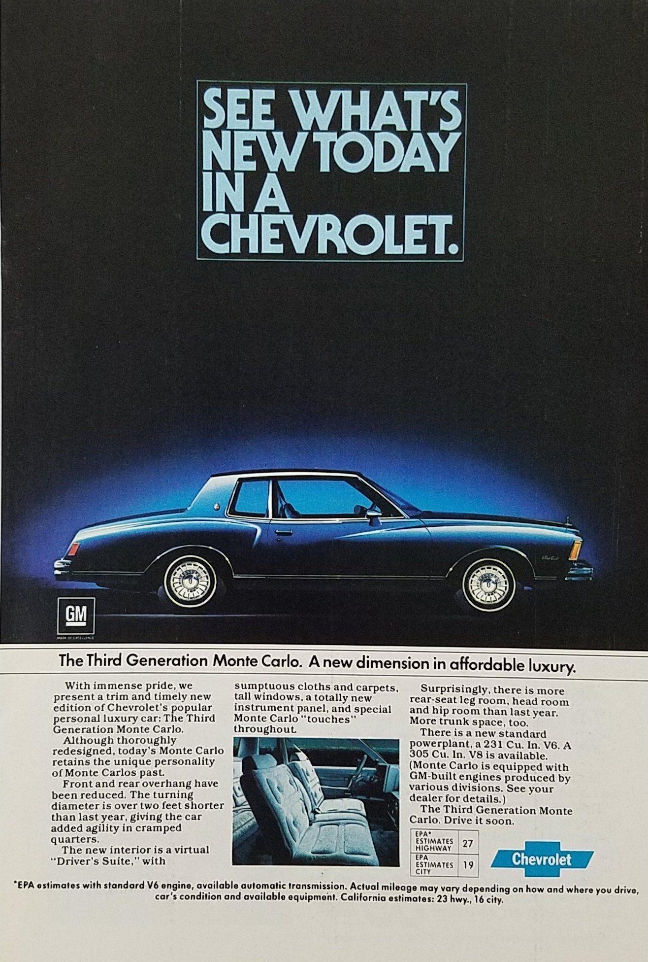 1979 Chevrolet Monte Carlo Magazine Ad Reproduction 8x12 Aluminum Sign