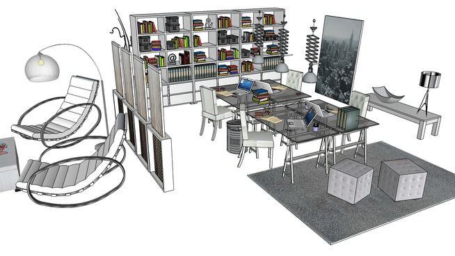 Large preview of 3D Model of Le bureau Helsinki, Maisons du