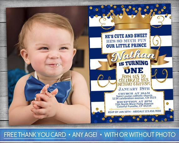prince birthday and baptism invitation