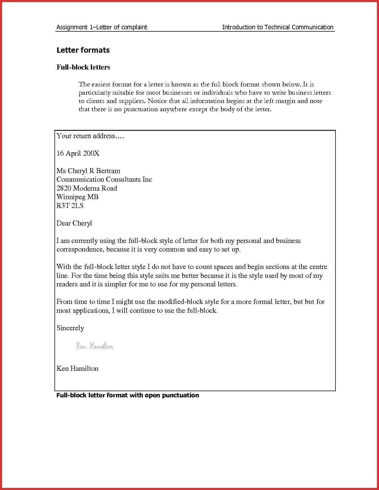 Formal Business Letter Uk Block Format Full Sample
