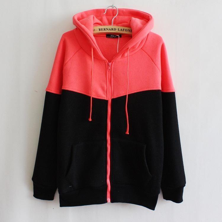 YYear Womens Pockets Hooded Drawstring Zipper Stylish Sweatshirt Jacket