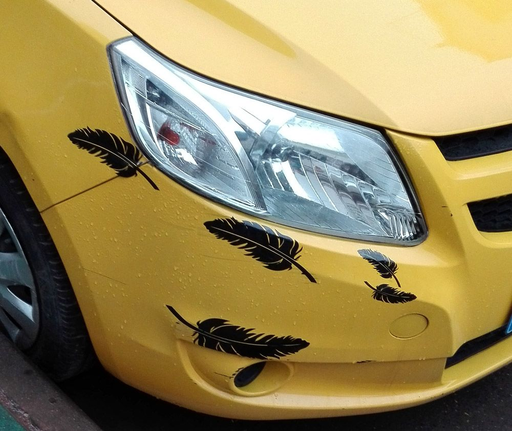 Car body sticker design for sale - 1page 5pcs Cute Feather Reflective Vinyl Car Sticker For Car Body Any Where