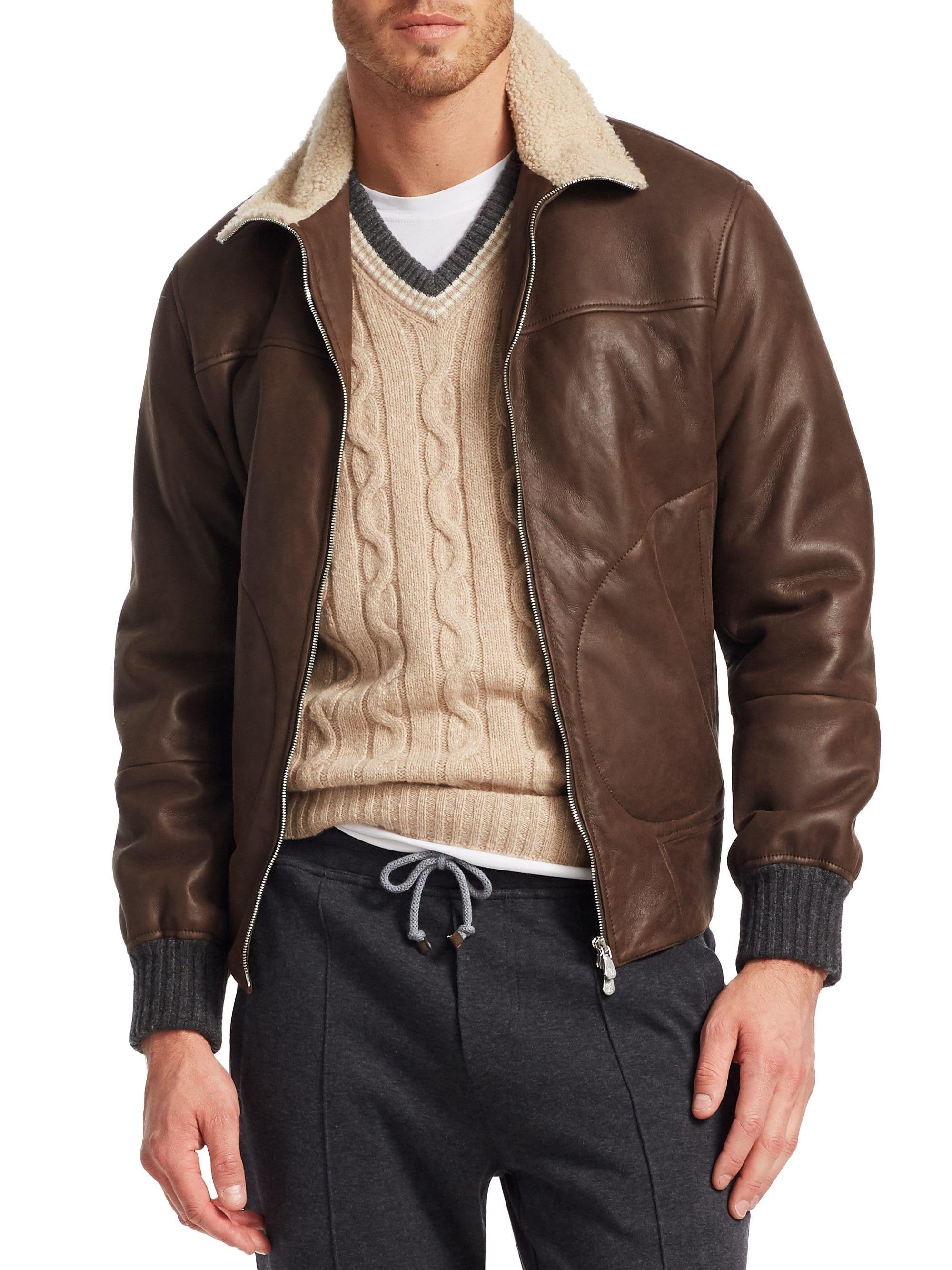 Brunello Cucinelli Leather Shearling Jacket Dark Brown Large Mens Shearling Bomber Jacket Leather Jacket Leather Jacket Men [ 2667 x 2000 Pixel ]
