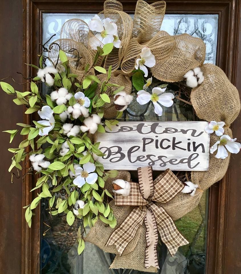 Cotton Pickin Blessed wreath perfect for all year. www.facebook.com/southernsass