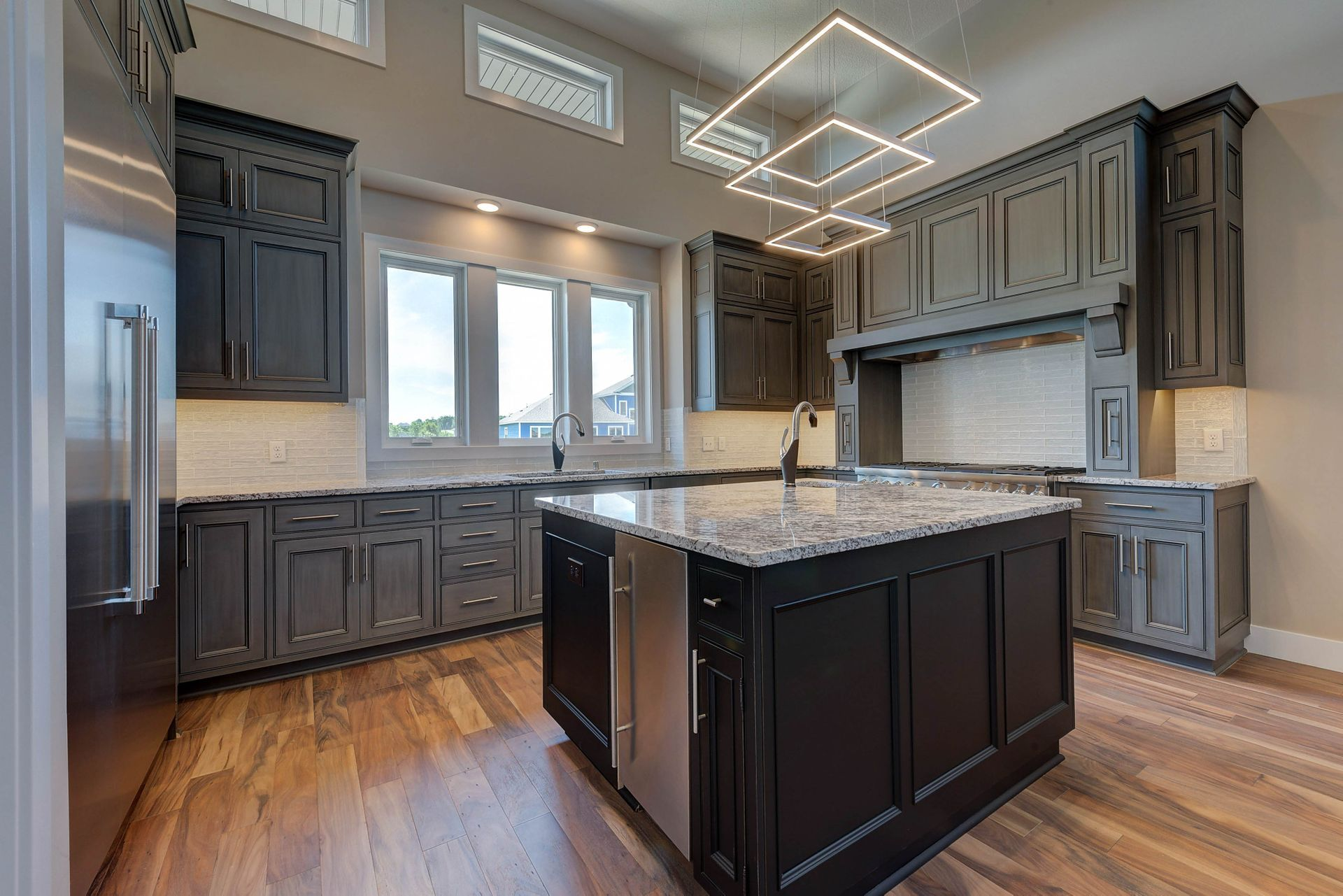 How About That Cool Light Centered In This Gourmet Kitchen Custom Built By Fieldstone Family Homes For A Client In Shakopee Grey Cabinets Home Home And Family