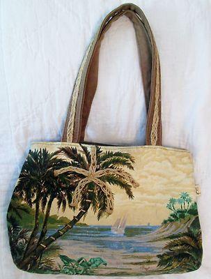 PAUL BRENT Purse Handbag Palm Trees Landscape Sailboat Canvas Tote Bag Ocean