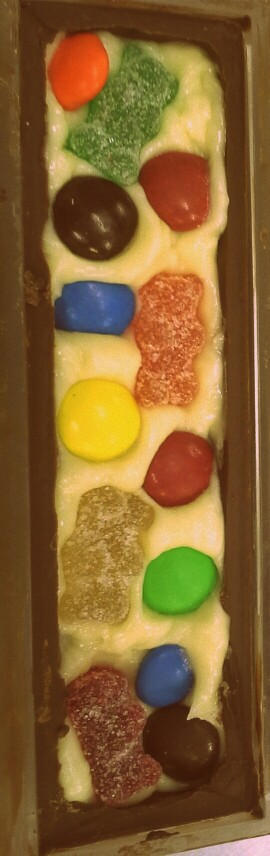 Just a crazy chocolate bar in the making, with fizzy jellies, cookie dough, m&ms...