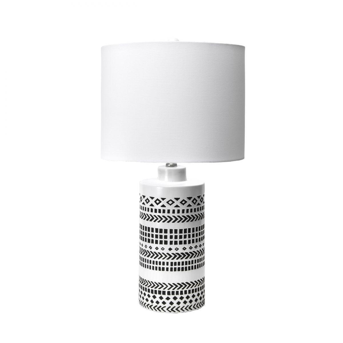 Alva 24 Inch Tribal Striped Ceramic Vase Table Lamp Off White Lamp In 2020 Vase Table Lamp Black Table Lamps Table Lamp