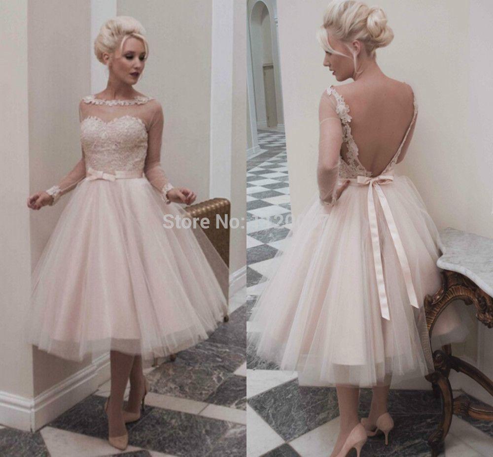 Blush tea length wedding dresses with sleeves popular tea length