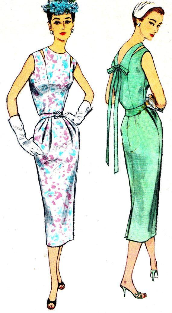 1950s Dress Pattern Simplicity 2035 V Back Sheath Dress Evening ...