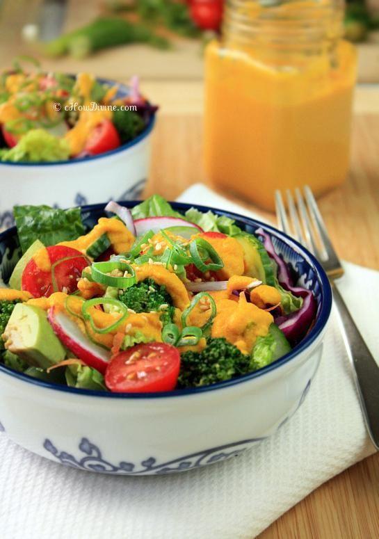 Salad Recipes : Asian Salad Recipe with Carrot-Ginger Dressing #salad #recipes