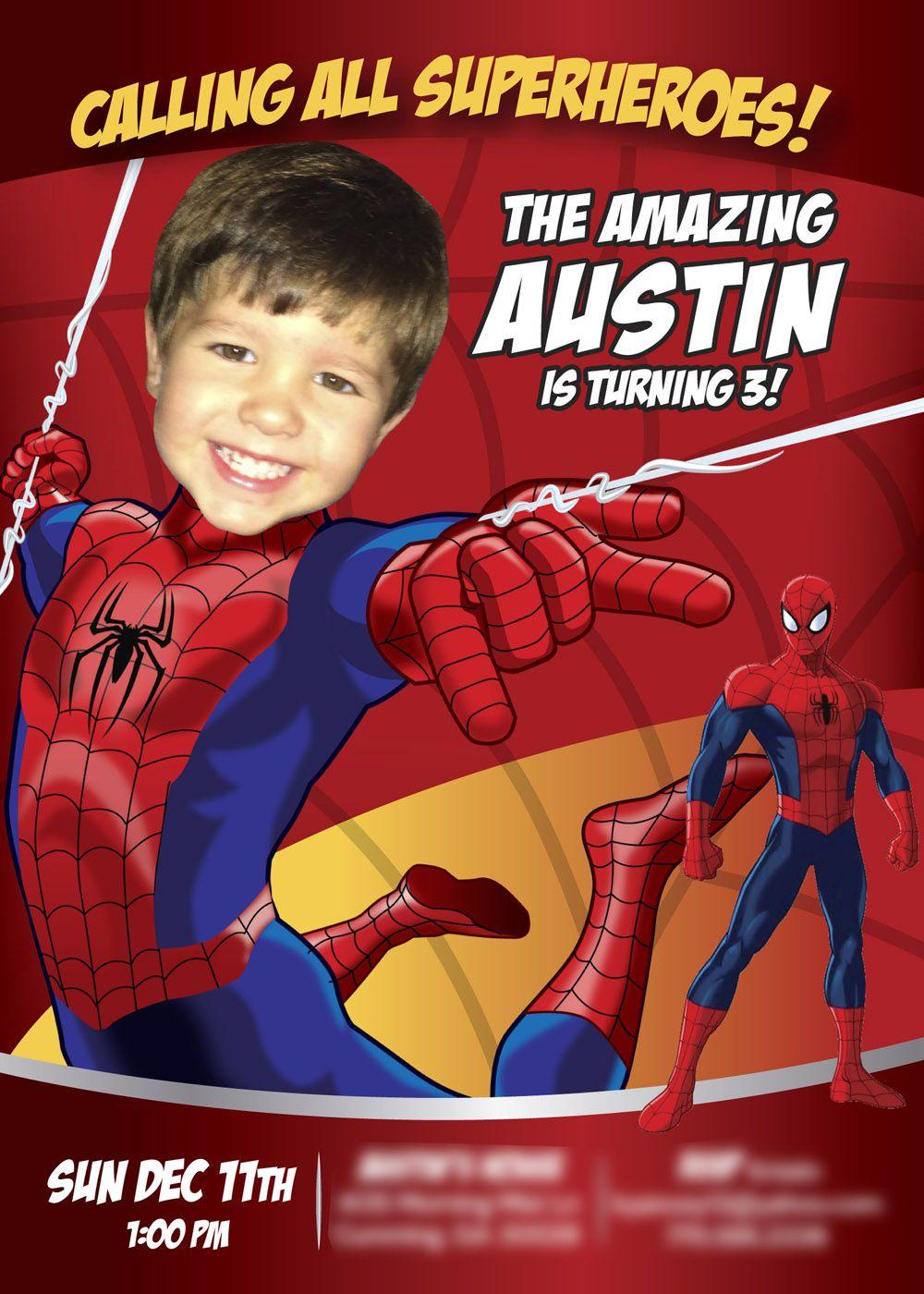 Spiderman Invitation Birthday Amazing Custom Photo