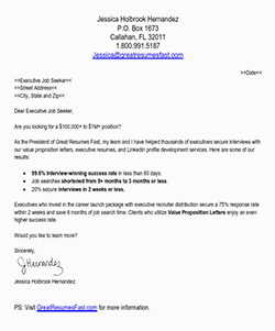 Executive Value Proposition Letter  A Great Value Proposition