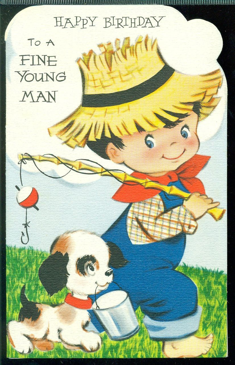 Vintage Greeting Card HAPPY BIRTHDAY TO A FINE YOUNG MAN Boy Fishing