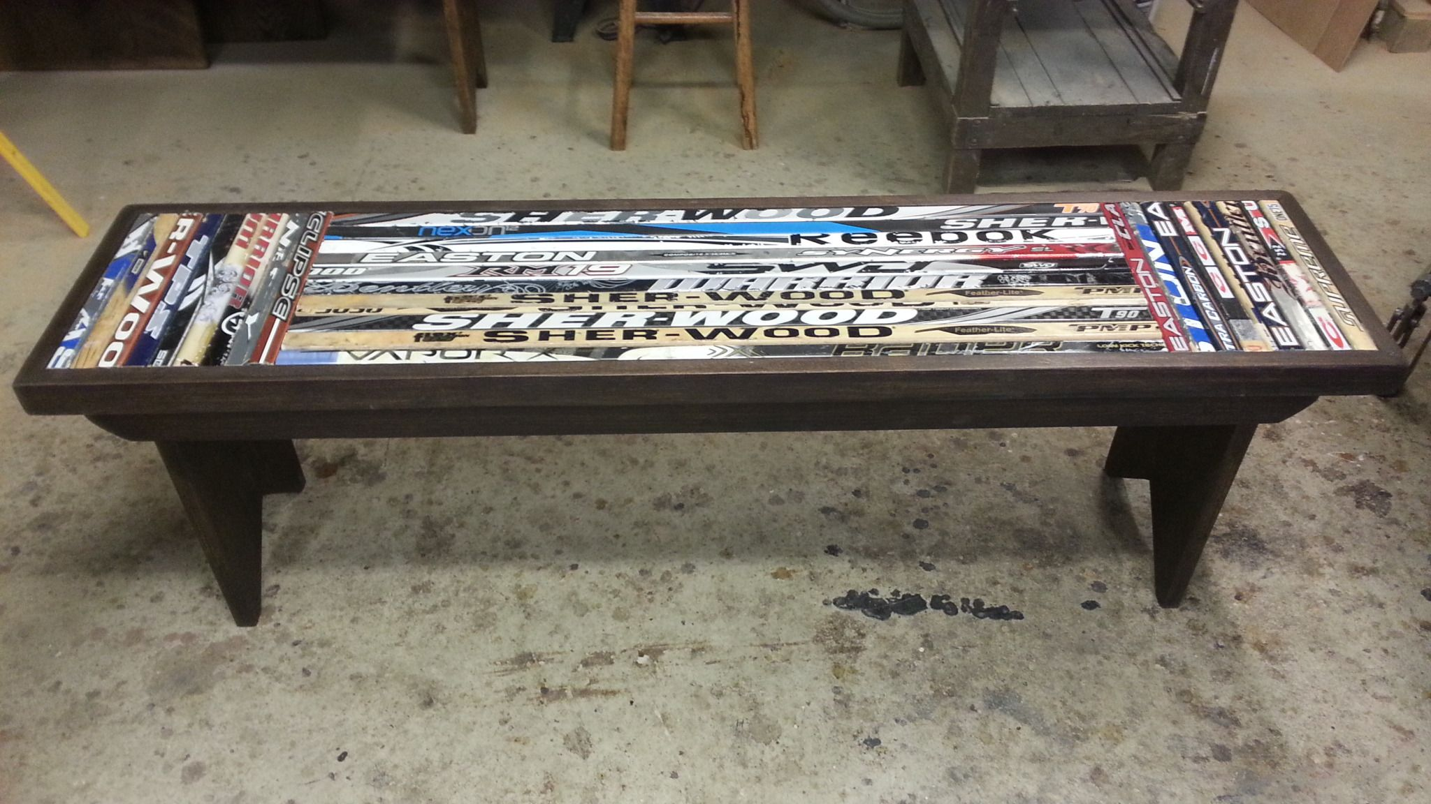 bench made from broken hockey sticks reclaimed wood