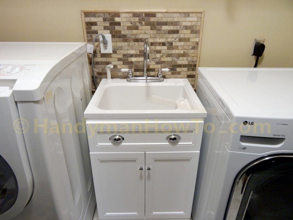 Laundry Room Remodel Utility Sink And Mosaic Tile Backsplash