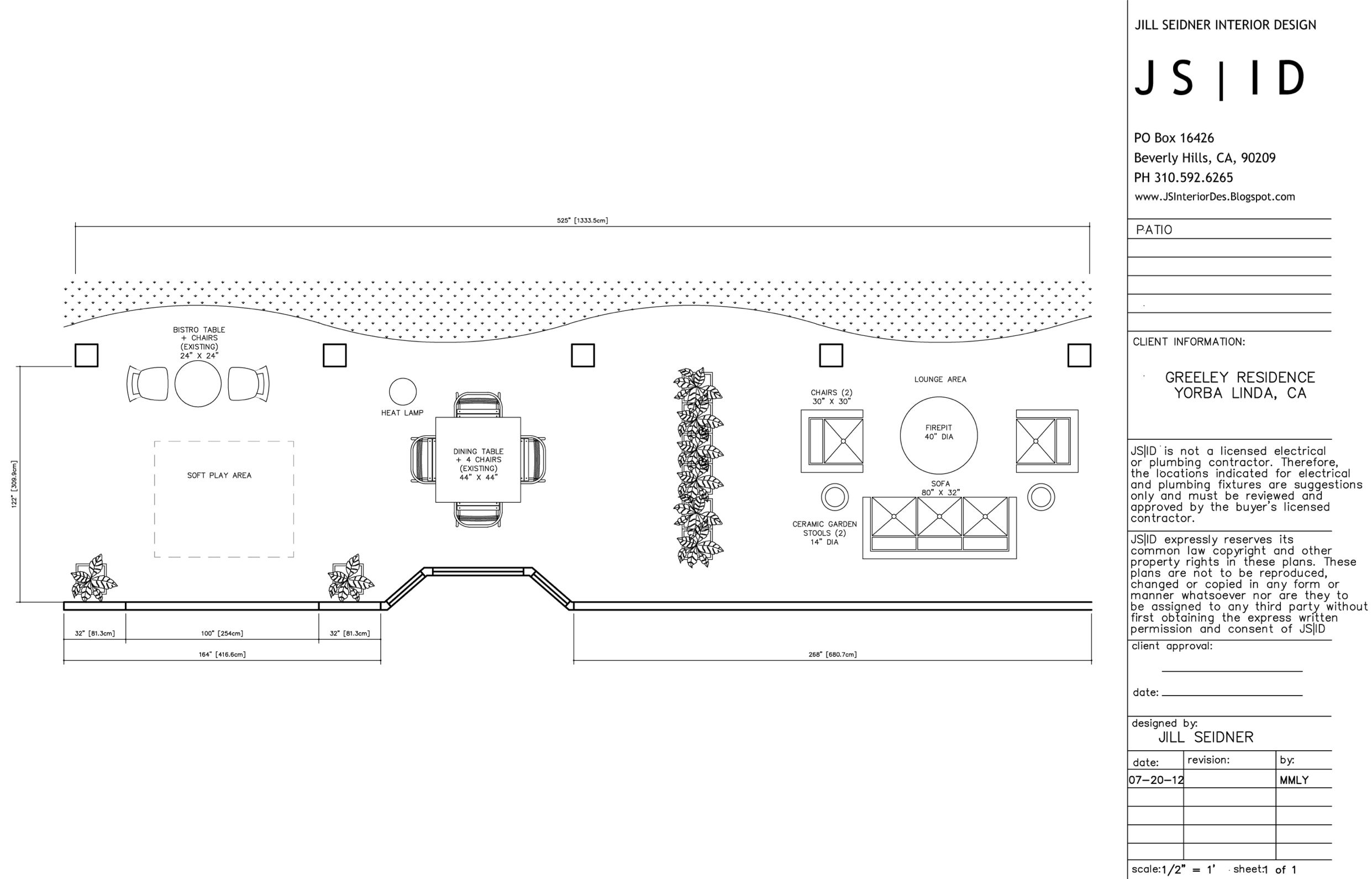 Yorba Linda, CA Online Design Project, Outdoor Patio Furniture Floor Plan  Layout, Option
