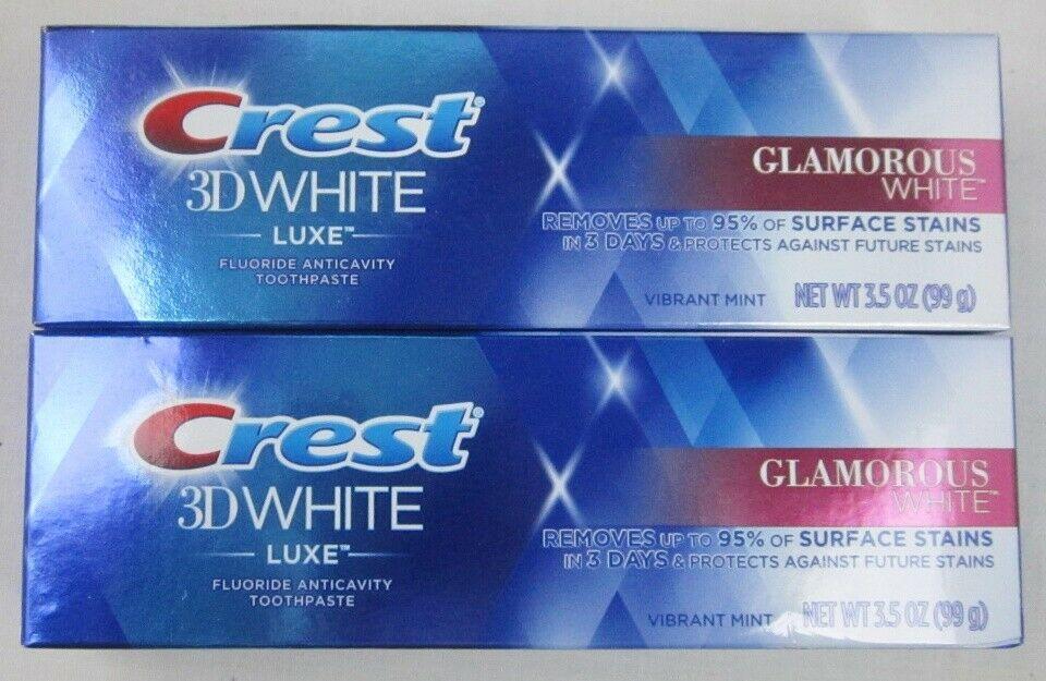 2 Crest 3d White Luxe Toothpaste Glamorous White 3 5 Ounce Each Vibrant Mint Crest Crest 3d White Crest Toothpaste Toothpaste