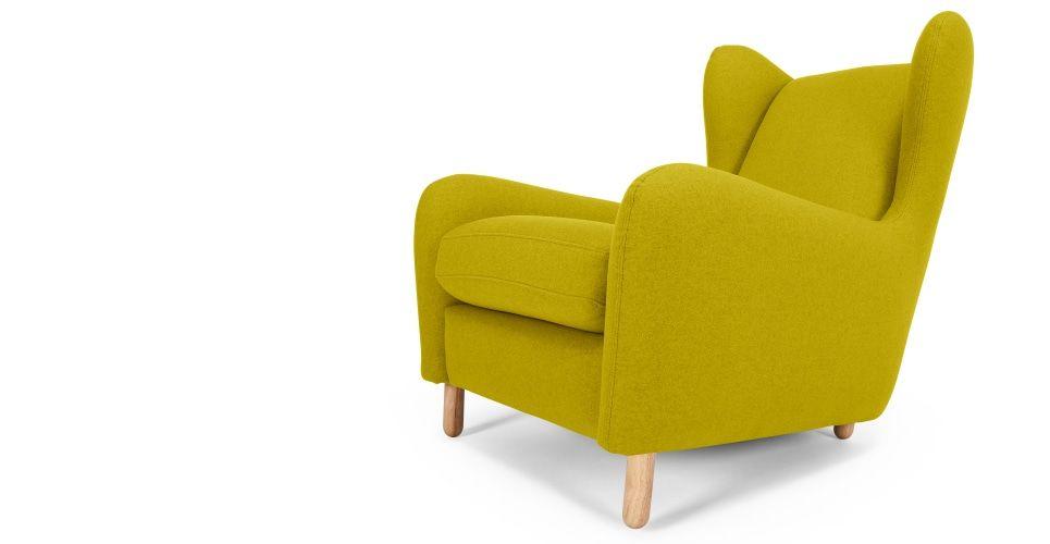 Rubens Wing Back Armchair, Kelp Green Wool Mix   made.com