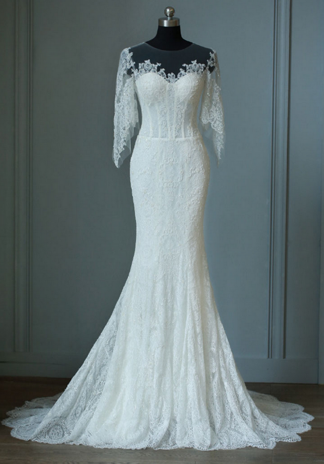 Full Lace Wedding Dress ,Royal Mermaid Half Sleeves Wedding Dress ...