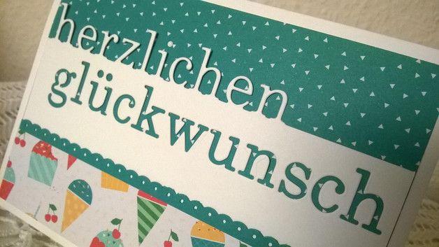 Glückwunschkarten - Bunte Geburtstagskarte - Herzlichen Glückwunsch - ein Designerstück von kreativesherzerl bei DaWanda