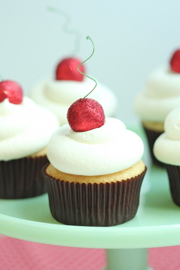 cute cherry cupcakes with red disco dust cherry on top