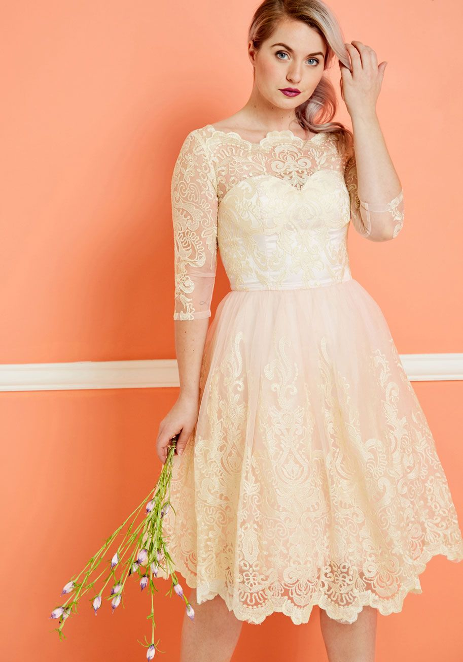 Chi chi london gilded grace lace dress in blush blush pink dresses