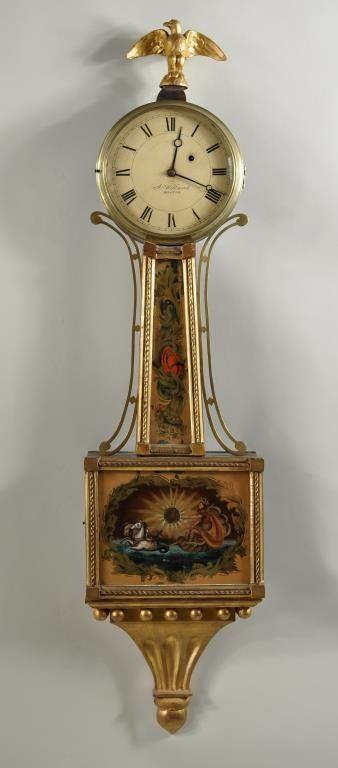 Aaron Willard Federal Gilt Mahogany Banjo Clock Lot 169 Clock Antique Wall Clock Antique Clocks