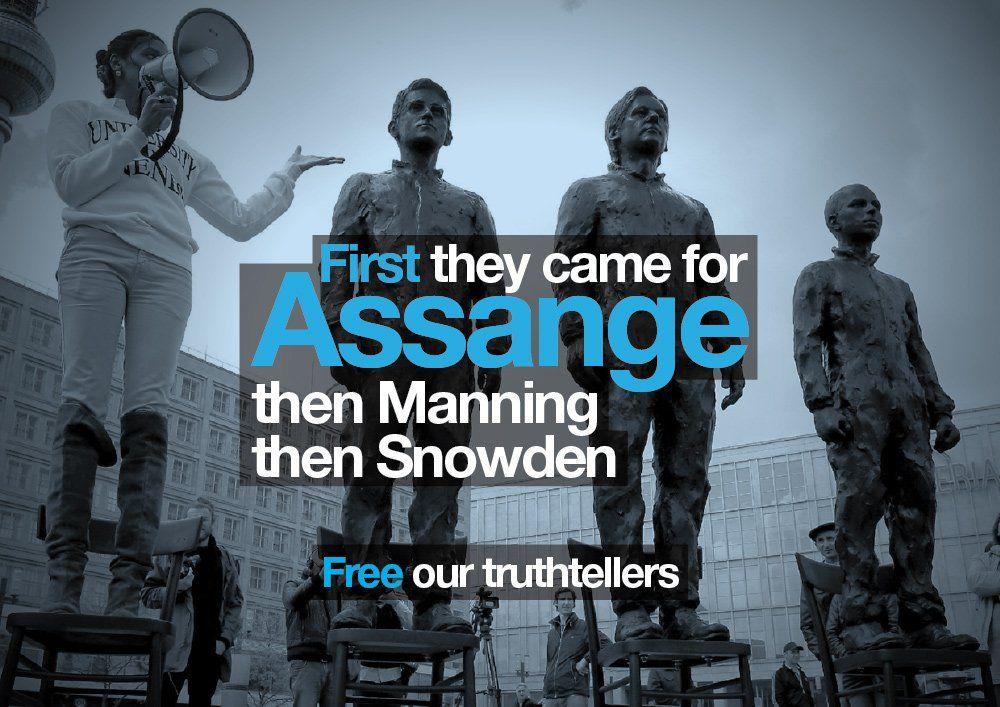 Bean @SomersetBean Jun 14  First they came for Assange Then Manning Then Snowden #FreeAssange #FreeManning #FreeAnons https://freeassangenow.com/