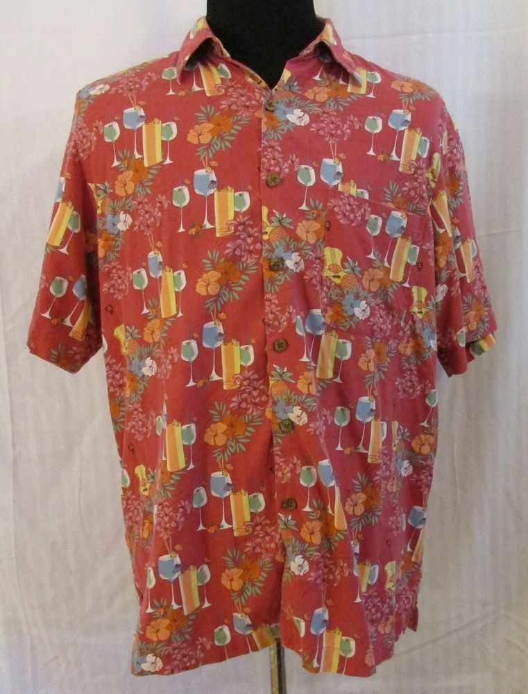 3f75779f8 Tropical Camp Shirt Size Large Silk Blend Red Cocktail Orchids Guitars  Hawaiian #Caribbean #Hawaiian