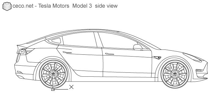 Autocad Drawing Tesla Motors Model 3 Tesla Inc Electric Car Side In Vehicles Cars Tesla Inc Tesla Motors Autocad