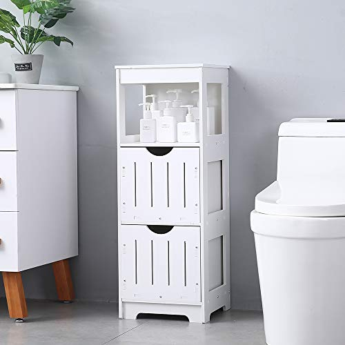 Ssline Slim Bathroom Cabinet Free Standing Corner Toilet Side Storage Shelf Organizer Bathroom Floor Storage Bathroom Floor Storage Cabinet Cupboard Storage