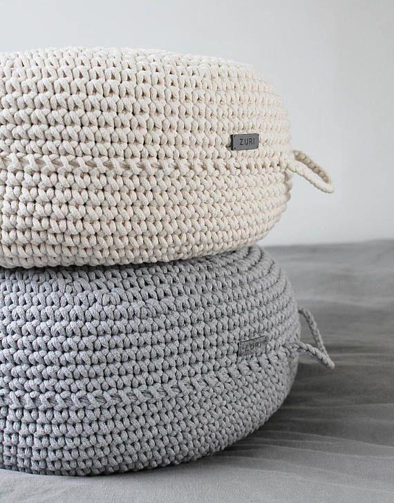 Ecru floor pouf ottoman crocheted pouf crochet pouf nursery decor ...