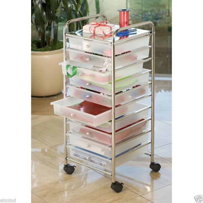 4 drawers chrome studio organizer rolling cart scrapbook