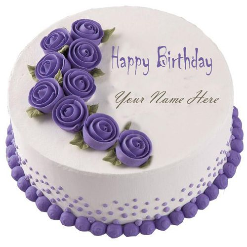 Write Your Name On Purple Happy Birthday Cake Online Online Editing