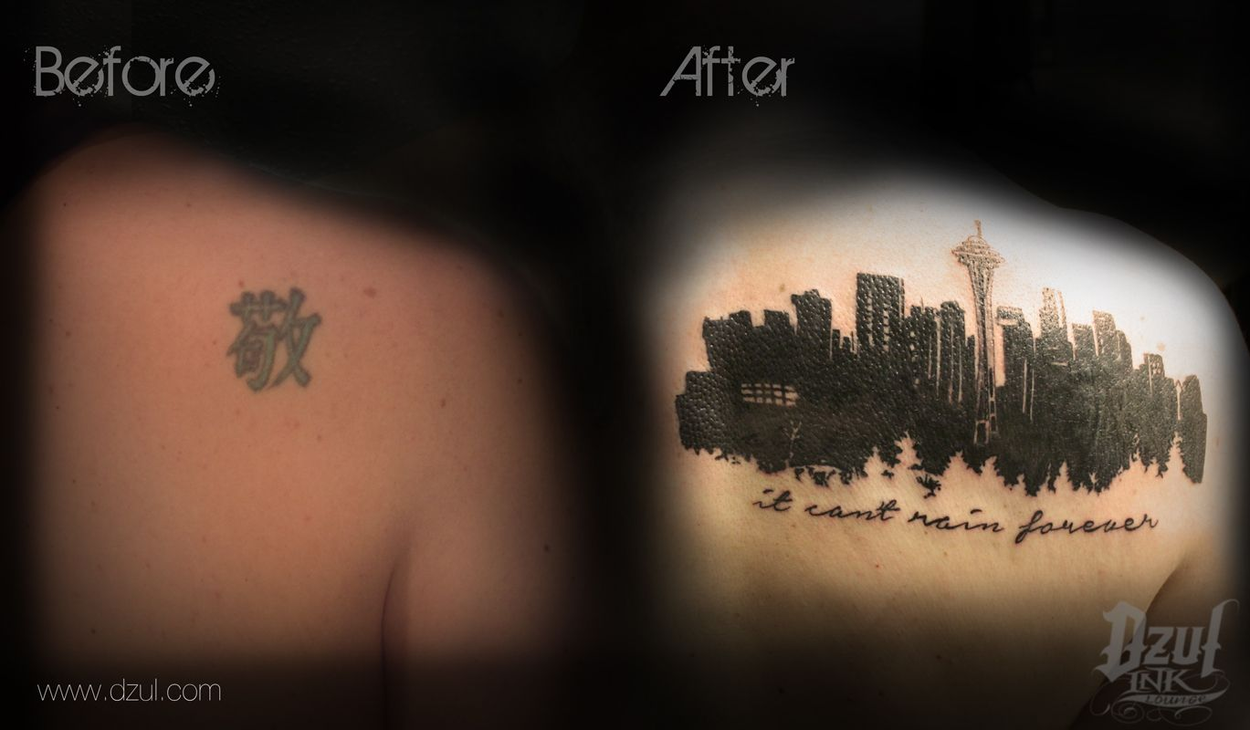 super sick seattle skyline tattoo that is actually a coverup seattle tattoo coverup tattoo. Black Bedroom Furniture Sets. Home Design Ideas
