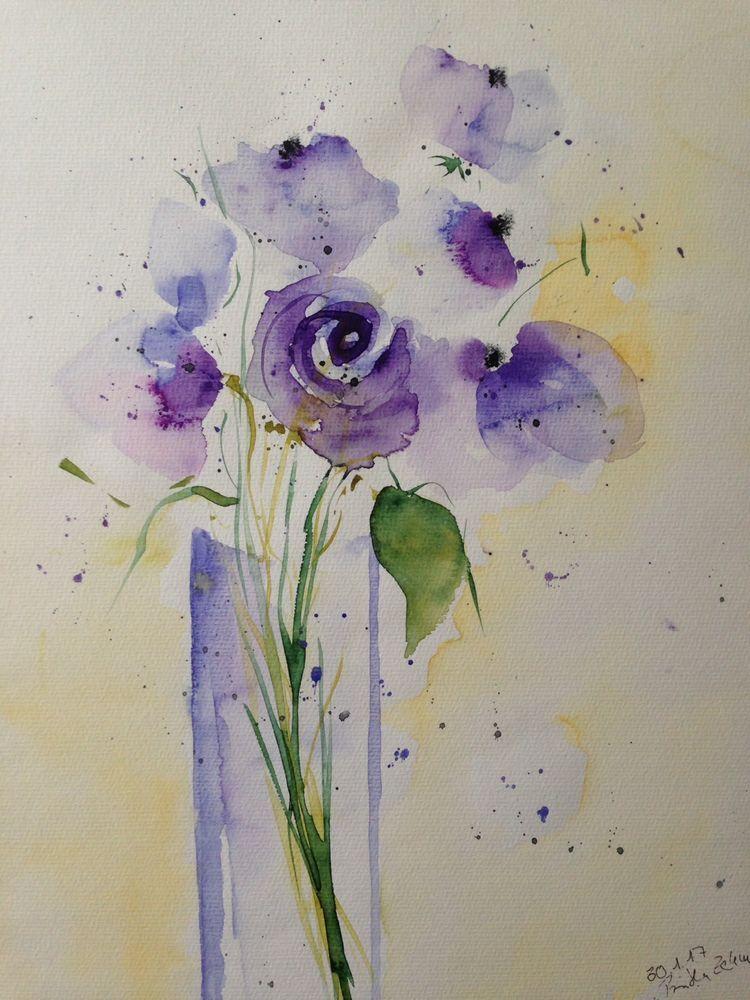 Aquarell Lila Blumen In Der Vase Blumen 30 X 40 Cm Unikat