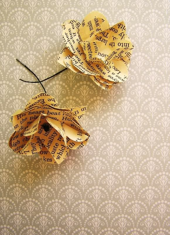 Flowers made from book pages favorite things pinterest vintage flowers made from book pages mightylinksfo