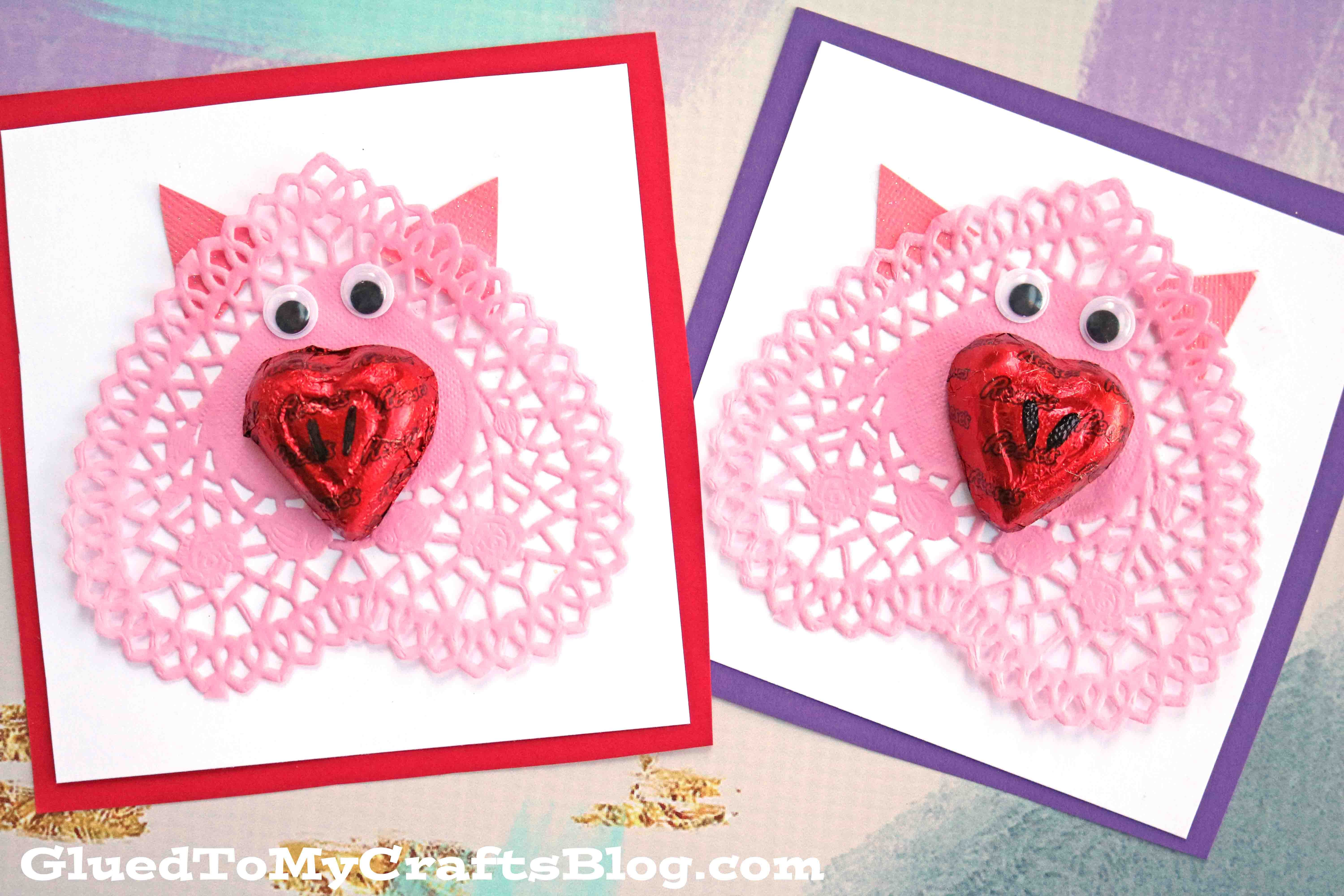 Handmade Paper Doily Pig Valentines For Kids To Recreate Pig