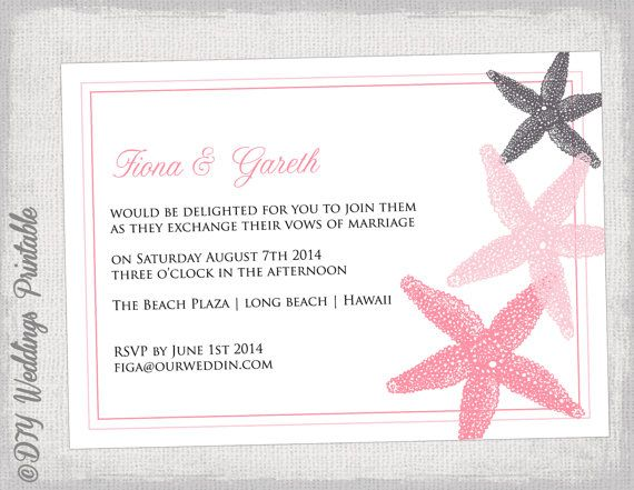 Beach Wedding invitation template Coral charcoal gray Starfish