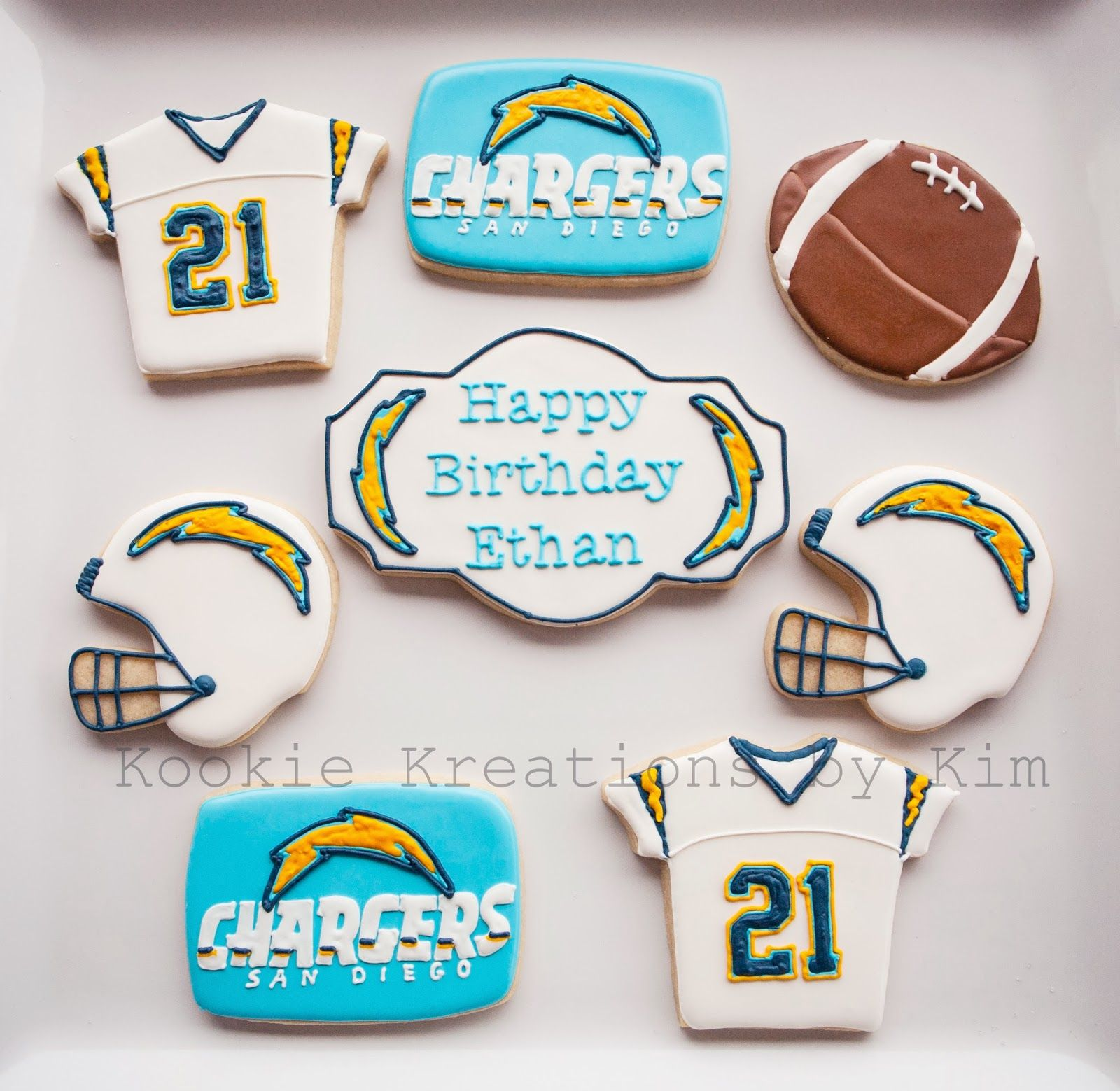 San Diego Chargers Cake: San Diego Chargers Cookies - Kookie Kreations By Kim