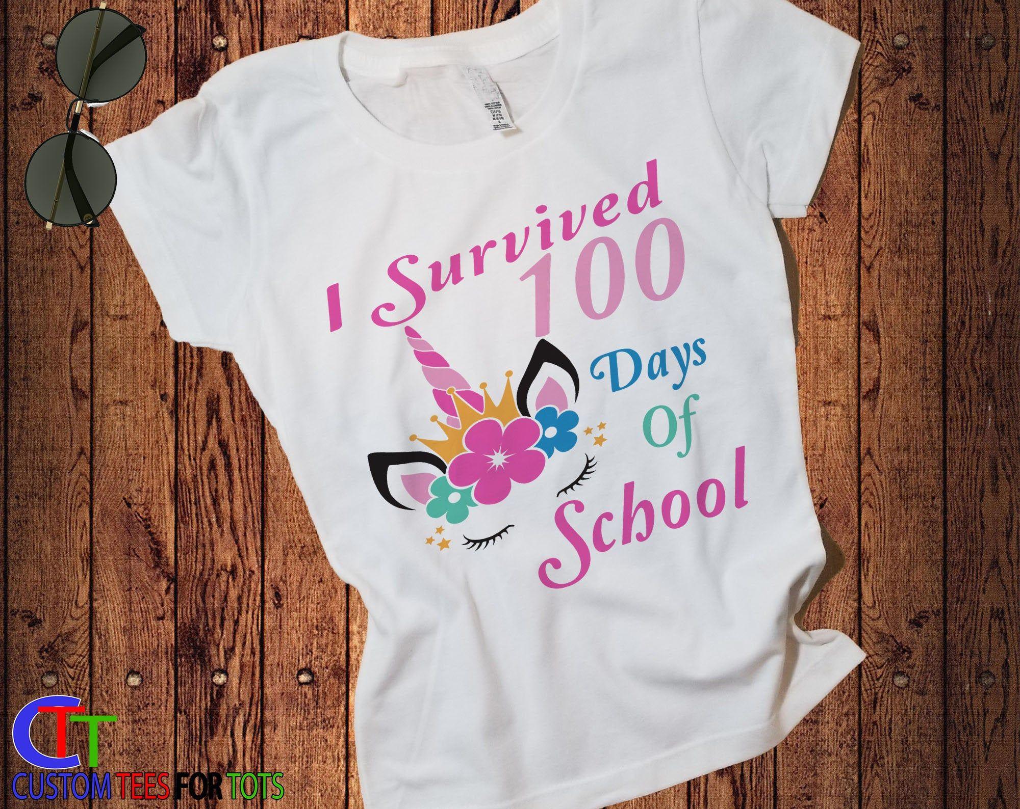 Unicorn 100 Days of School Shirt for Girls - Kids Unicorn TShirt - Unicorn 100 days of School graphic Tee - Unicorn Graphic Shirt