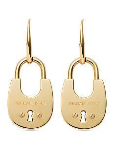 Michael Kors Gold-Tone Padlock Drop Earrings - Belk.com