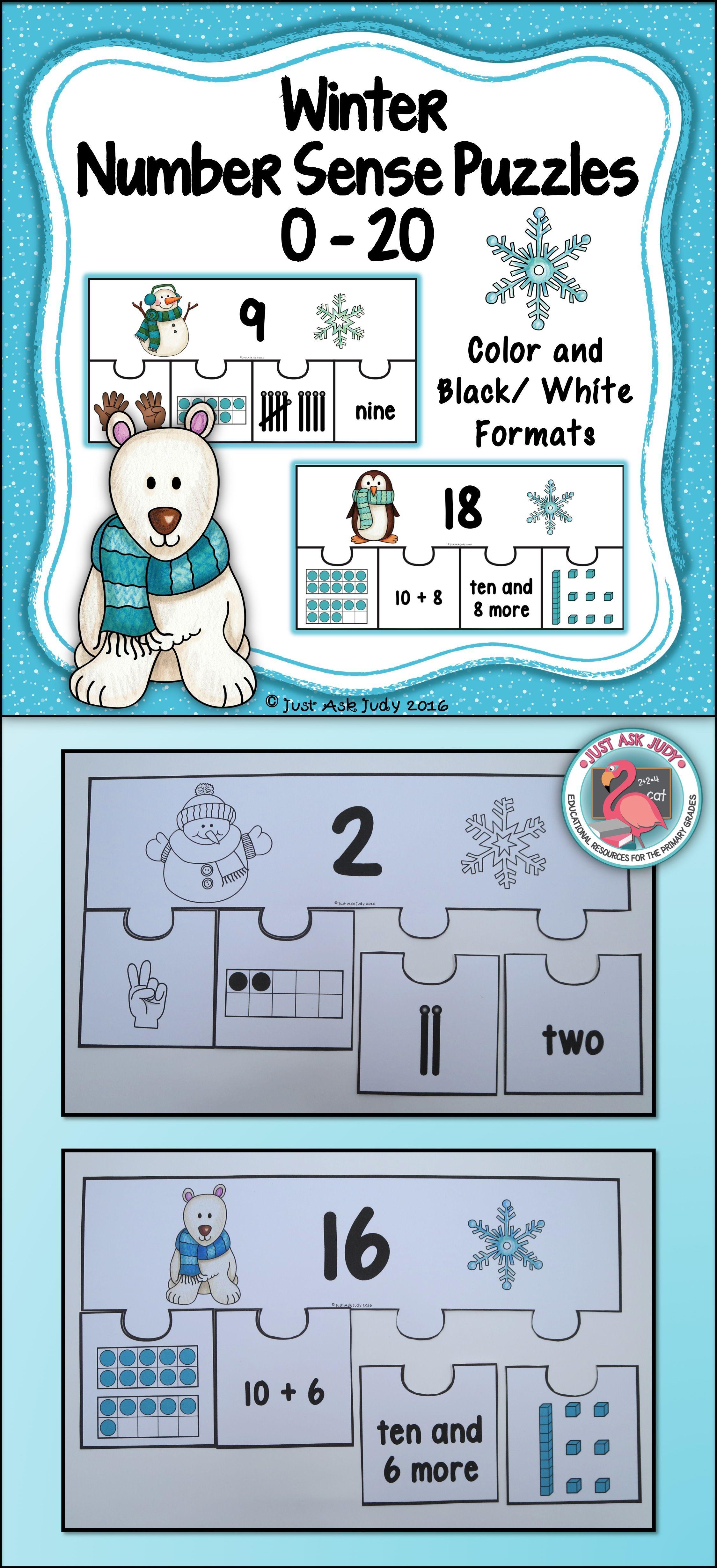 Number Sense 0-20 Winter Puzzles   Number sense activities, Senses ...